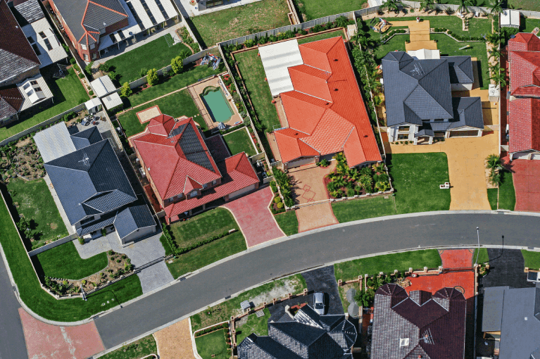 Birds eye view of houses in a community